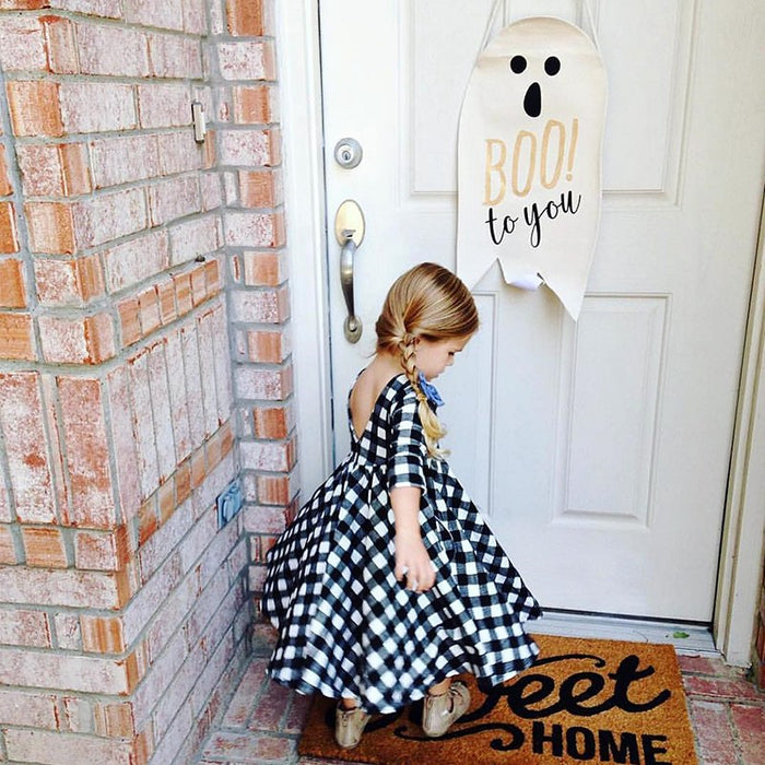 Black Plaid Backless Dress