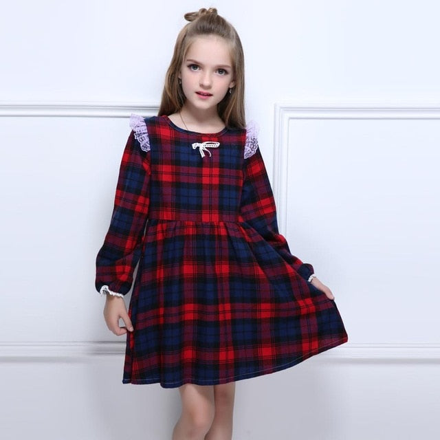 Red Plaid Girls Dress
