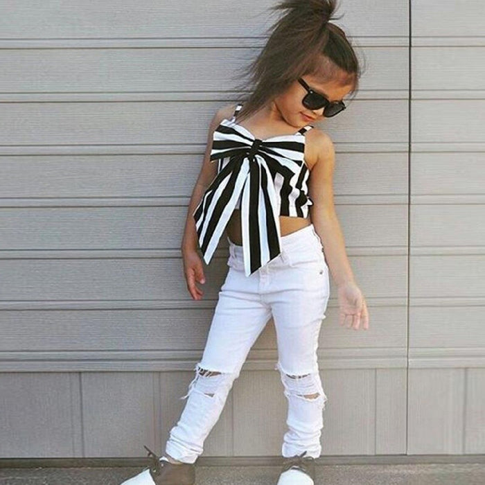 Girl Bowtie Striped Top + Pants 2 Pieces - Beautiful Blessing Boutique Clothing Shop