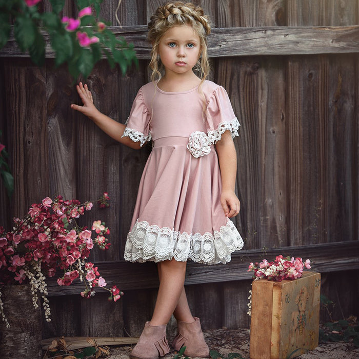 Pink & Lace Baby Toddler Dress