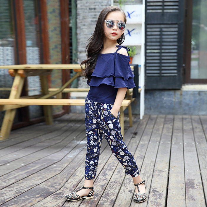 Ruffle Top & Floral Pants - Beautiful Blessing Boutique Clothing Shop
