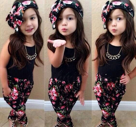 Toddler Girls Shirt Floral Pants Headband Outfit
