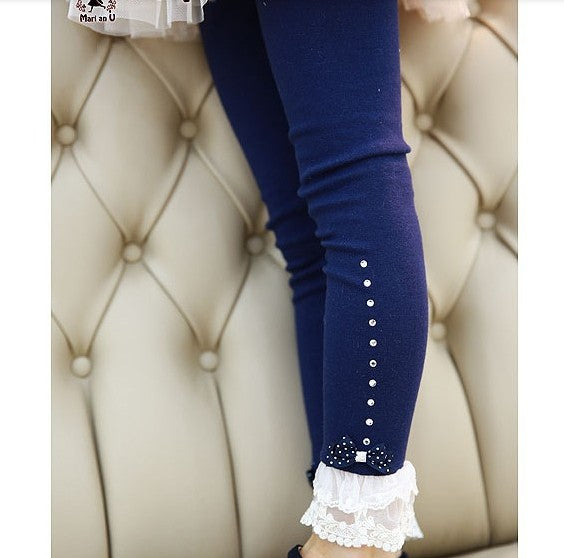 Lace Ruffle Rhinestone Leggings - Beautiful Blessing Boutique Clothing Shop