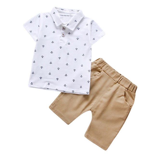 Anchor Polo Shirt & Khaki Shorts - Beautiful Blessing Boutique Clothing Shop