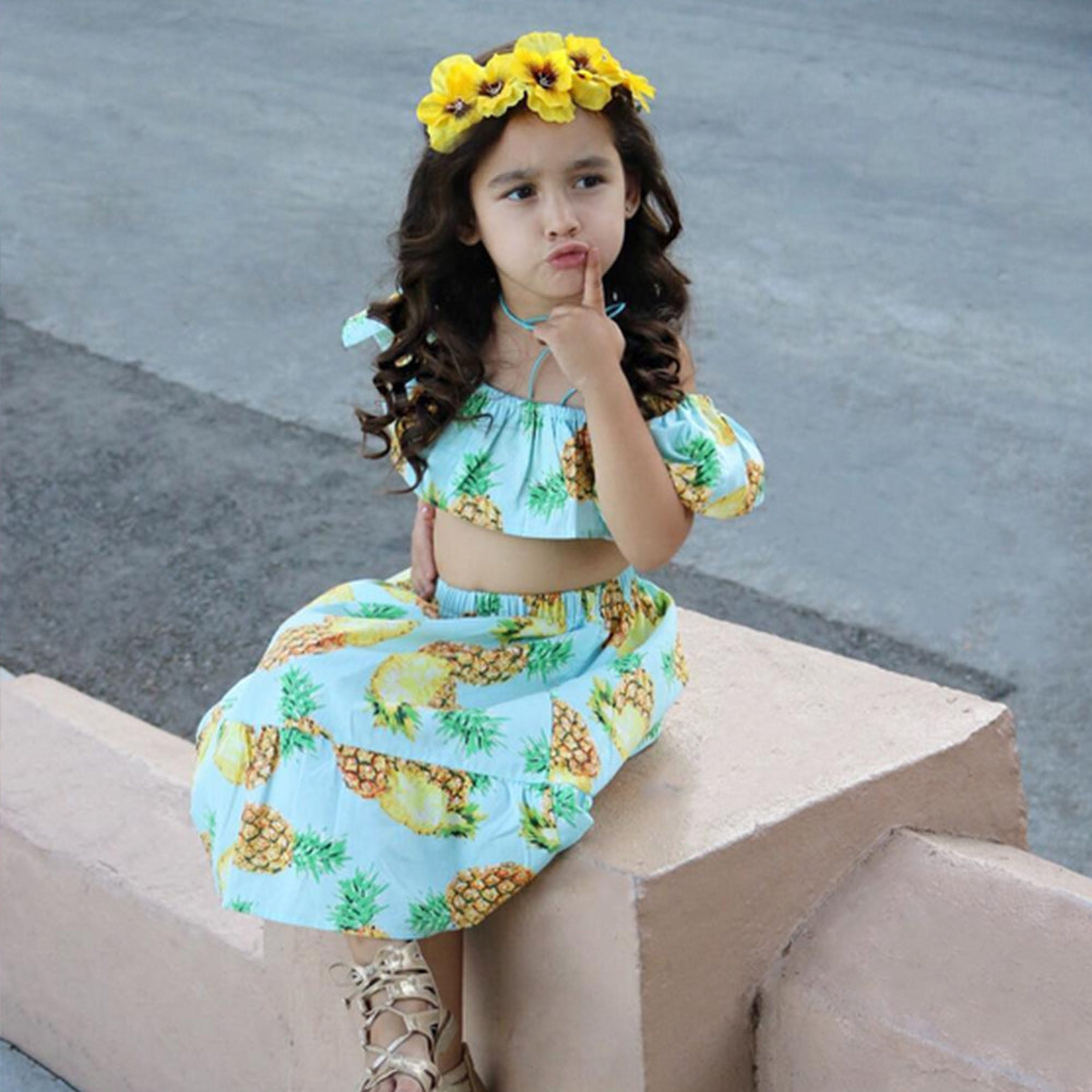 2 Piece Pineapple Skirt & Top Set - Beautiful Blessing Boutique Clothing Shop