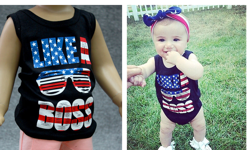 Like A Boss Red White and Blue Matching Daddy and Me Shirts