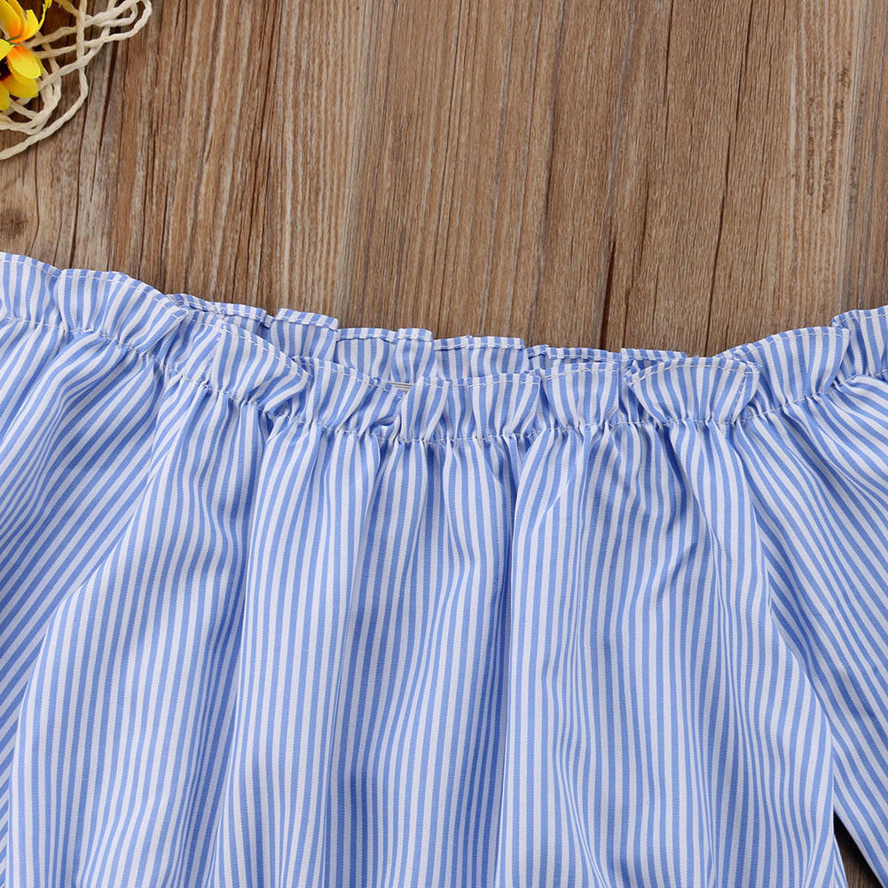 Blue White Striped Long Sleeve Blouse