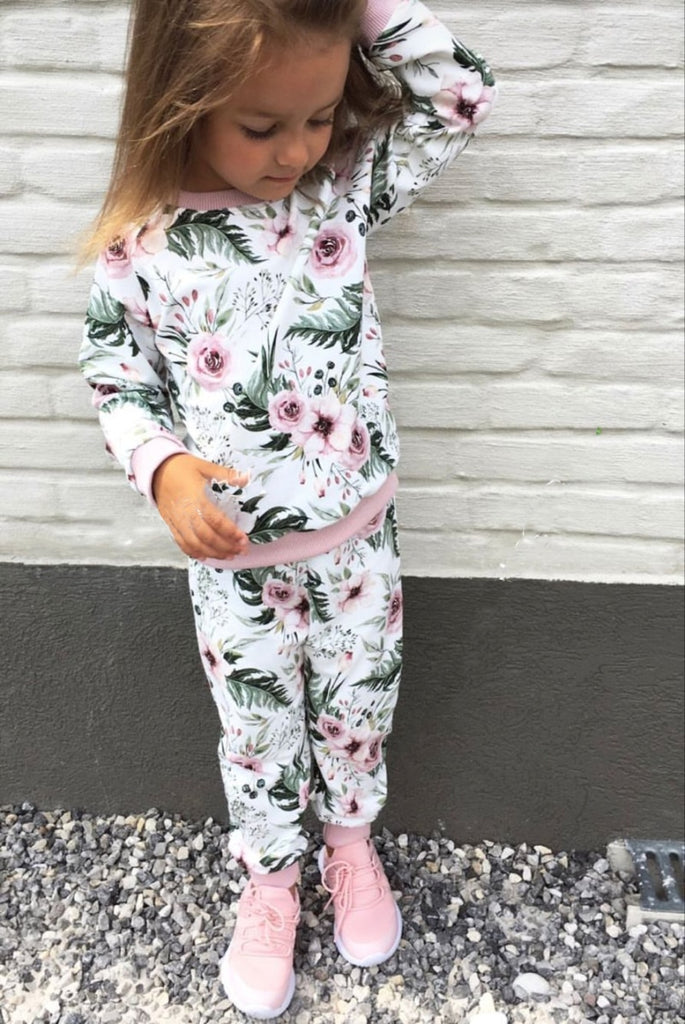 Floral Cotton Hoodie And Pants Outfit