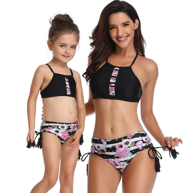 Black Floral Matching Mommy and Me Swimwear