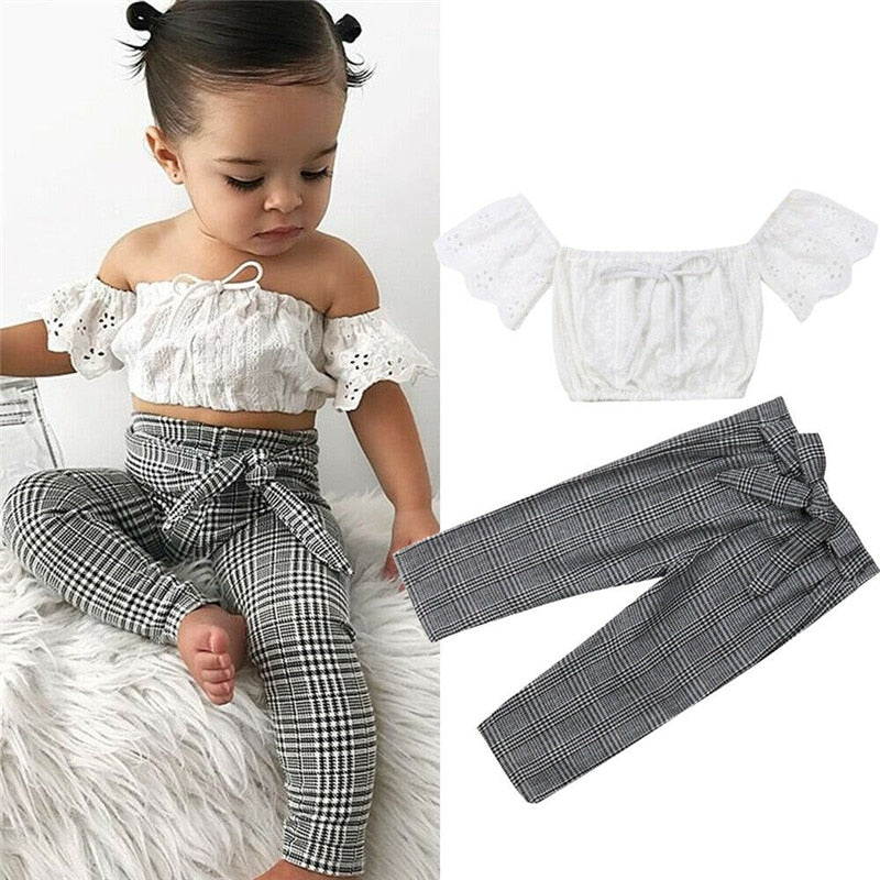 Sydney Off Shoulder Crop Top and Pants Outfit