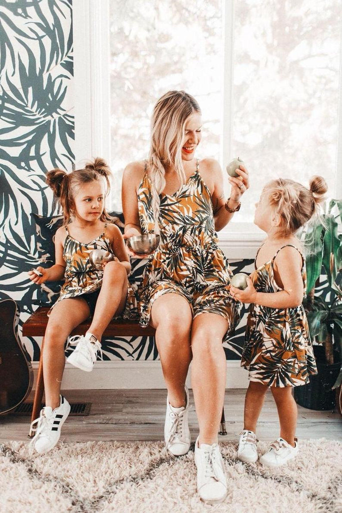 Leaf Print Mommy and Me Matching Dress