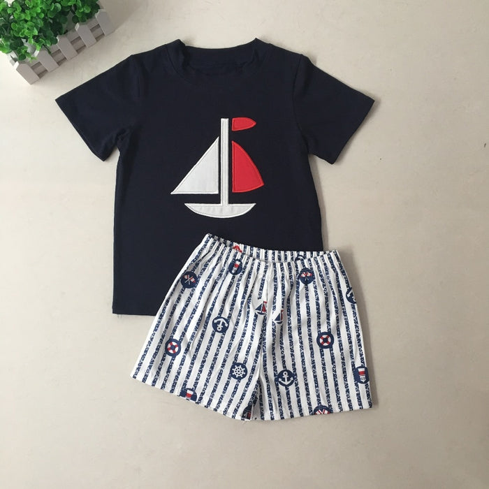 Red White And Blue Sailboat