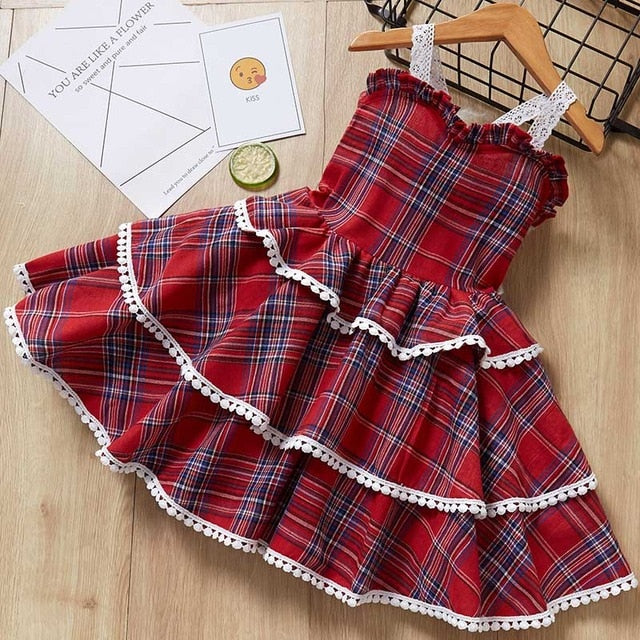 Ruffle Plaid Lace Dress