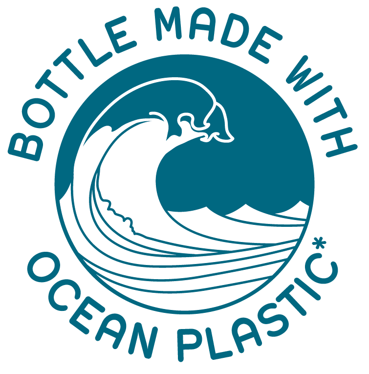 Bottle made with ocean plastic.