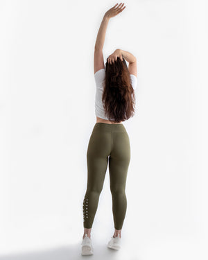 High waisted leggings olive green fitness from wolftech gym wear