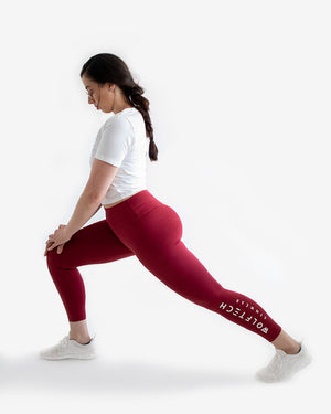 High waisted leggings red fitness from wolftech gym wear