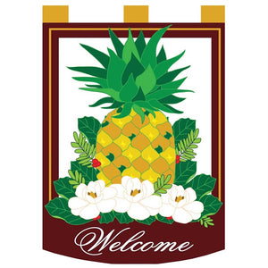 Pineapple Welcome 13 X 18 Double Applique Magnolia Garden Flag