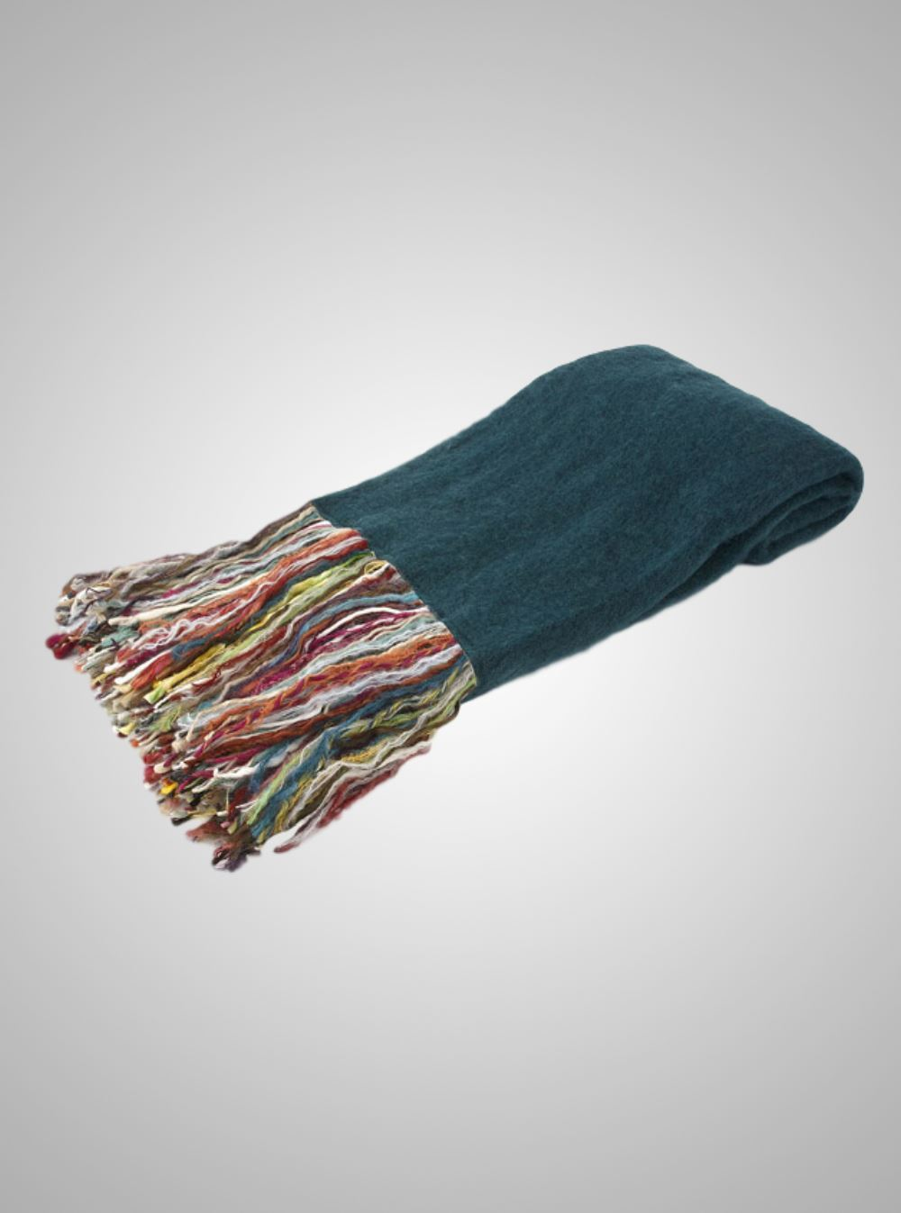 The Fringe Benefit  Teal Mohair Throw with Multi Colour Fringe 70