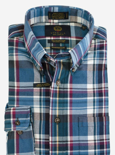 Button-Down Collar, Long Sleeve Plaid Sport Shirt Style: 457411