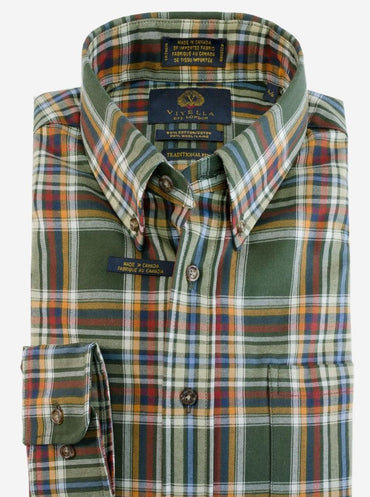 Button-Down Collar, Long Sleeve Plaid Sport Shirt Style: 551435