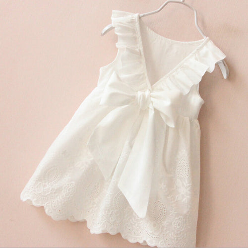 White Ruffle and Bow Dress - RTS!