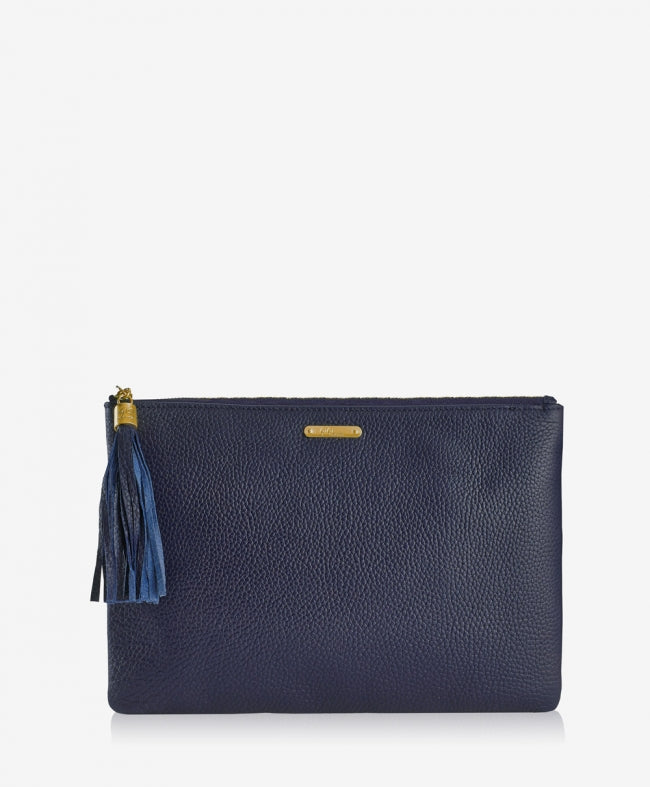 GiGi New York - Uber Clutch Navy Pebble Grain