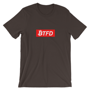 BTFD Bitcoin Red Box Short-Sleeve Unisex T-Shirt