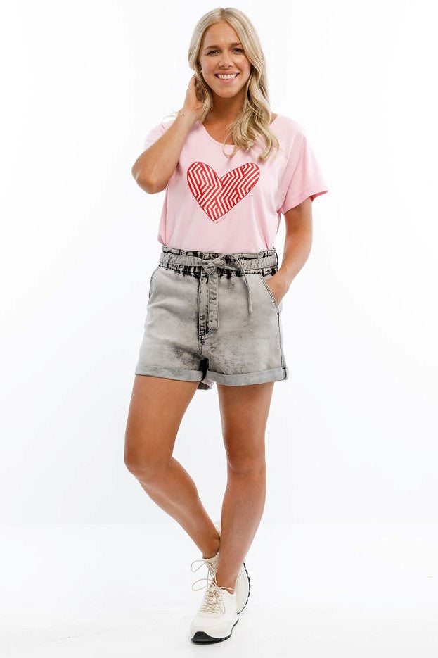 Home Lee Jack Tee - Pink with pink Carnival heart