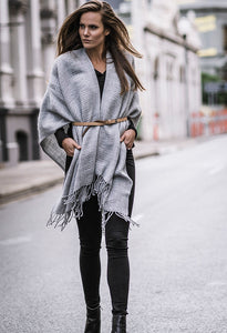 Ripple Poncho Grey