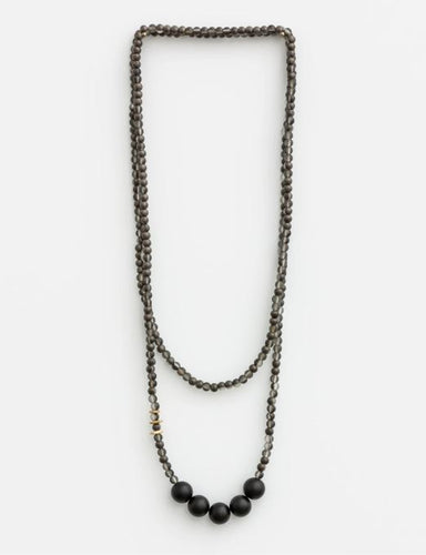 BLACK BALLS NECKLACE