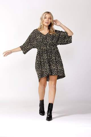 Khaki Leopard Print Dress