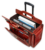 Mancini Leather Signature Deluxe Wheeled Catalog Case Brown