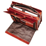 Mancini Leather Signature Briefcase for Laptop and Tablet Brown