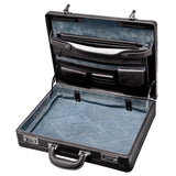 Mancini Leather Luxurious Italian Leather Expandable Attache Case Black