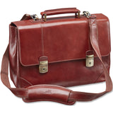 Mancini Leather Signature Collection Laptop / Tablet Compatible Double Compartment Briefcase - Brown