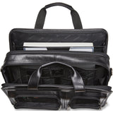 Mancini Signature Collection Laptop / Tablet Compatible Double Compartment Top Zipper Briefcase - Black