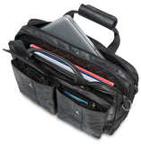 "Mancini Leather Double Compartment Briefcase for 15.6"" Laptop with RFID Secure Pocket, 16.25"" x 4"" x 12"", Black"