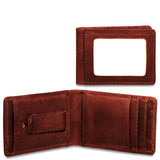 Jack Georges Voyager Collection #7748 Small Bi-Fold Wallet w/Money Clip-Brown