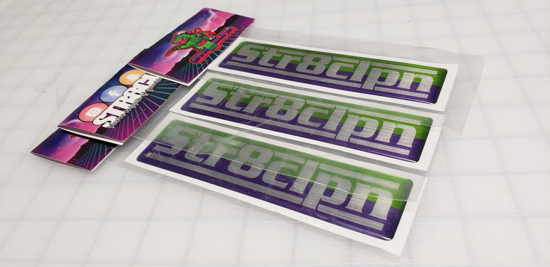 DOMED GREEN/ PURPLE RECTANGLE DECAL