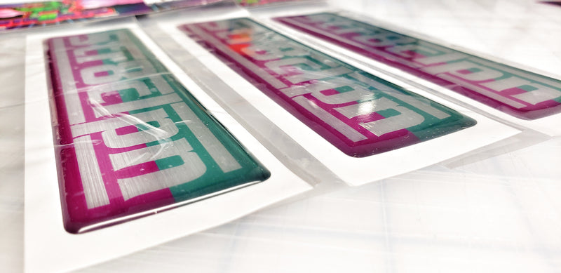 Domed Pink / Teal Rectangle decal