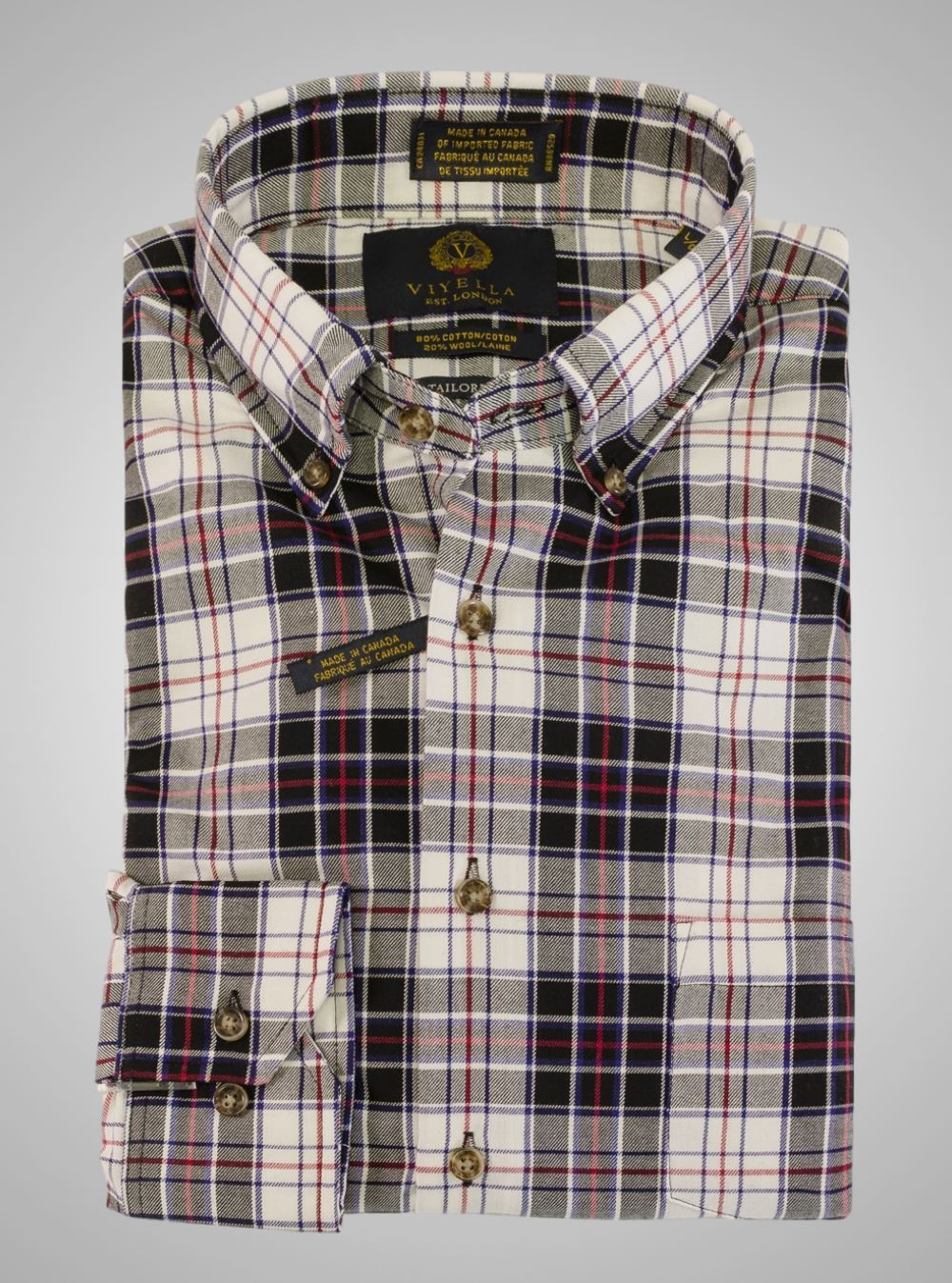 Viyella Black Plaid Tailored Fit Shirt