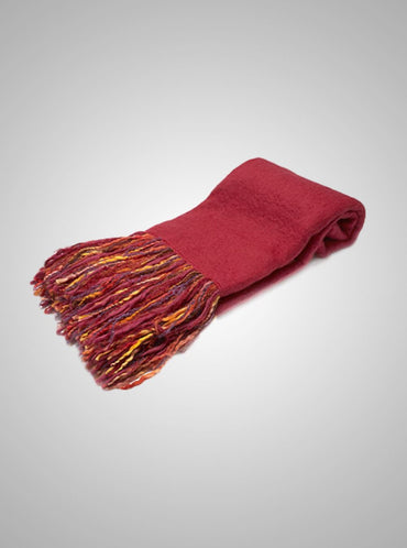 "The Fringe Benefit Cherry Mohair Throw 70"" X 53"""