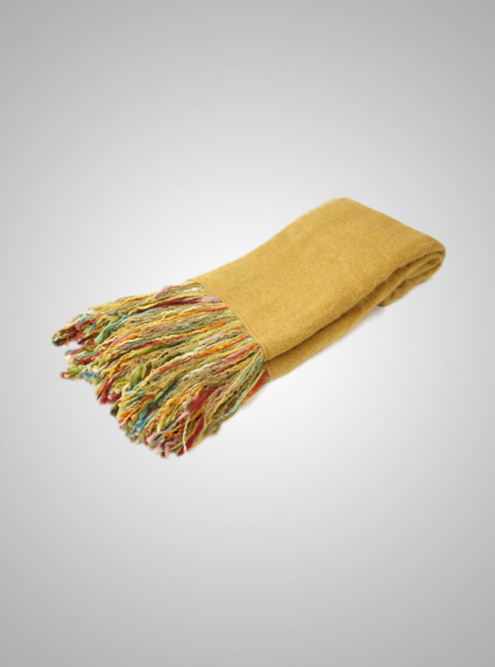 The Fringe Benefit  Gold Mohair with Multi Colour Fringe Throw 70