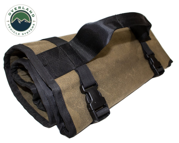 Overland Vehicle Systems Rolled Bag General Tools With Handle And Straps - #16 Waxed Canvas Universal