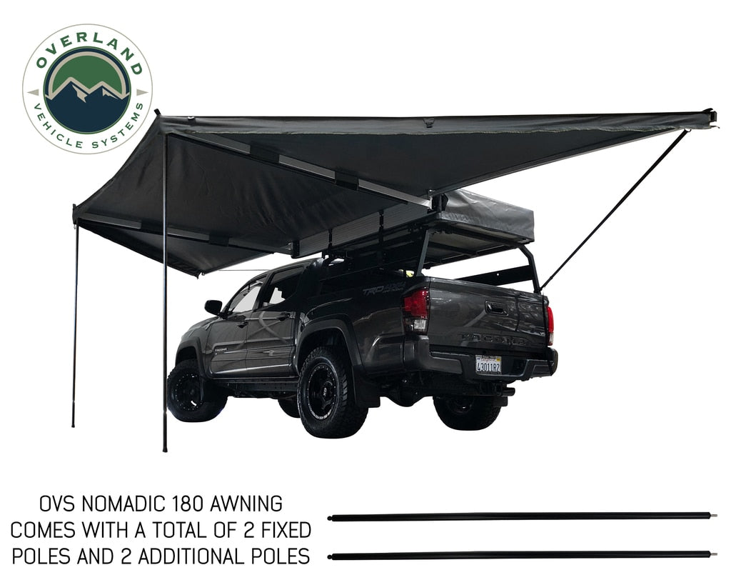 Dark Gray Cover with Black Cover Universal Nomadic OVS Awning 270 Passenger Side