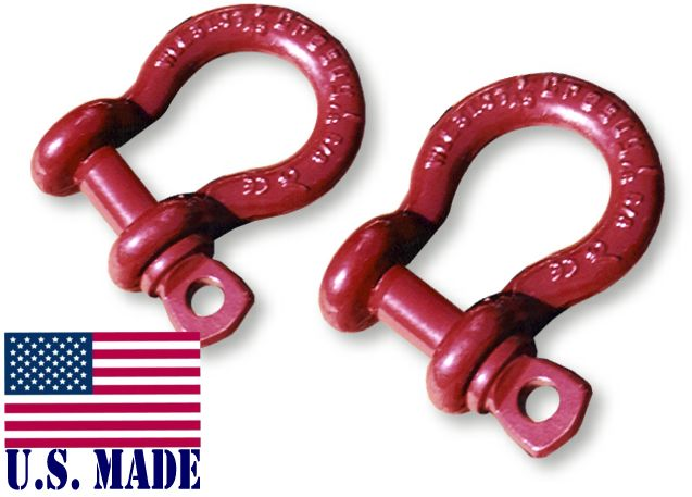 "D-Ring Mega Shackles 1"" Red - CROSBY (PAIR)"