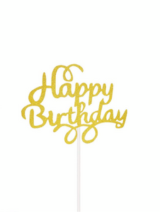 Happy birthday cake toppers glitter gold