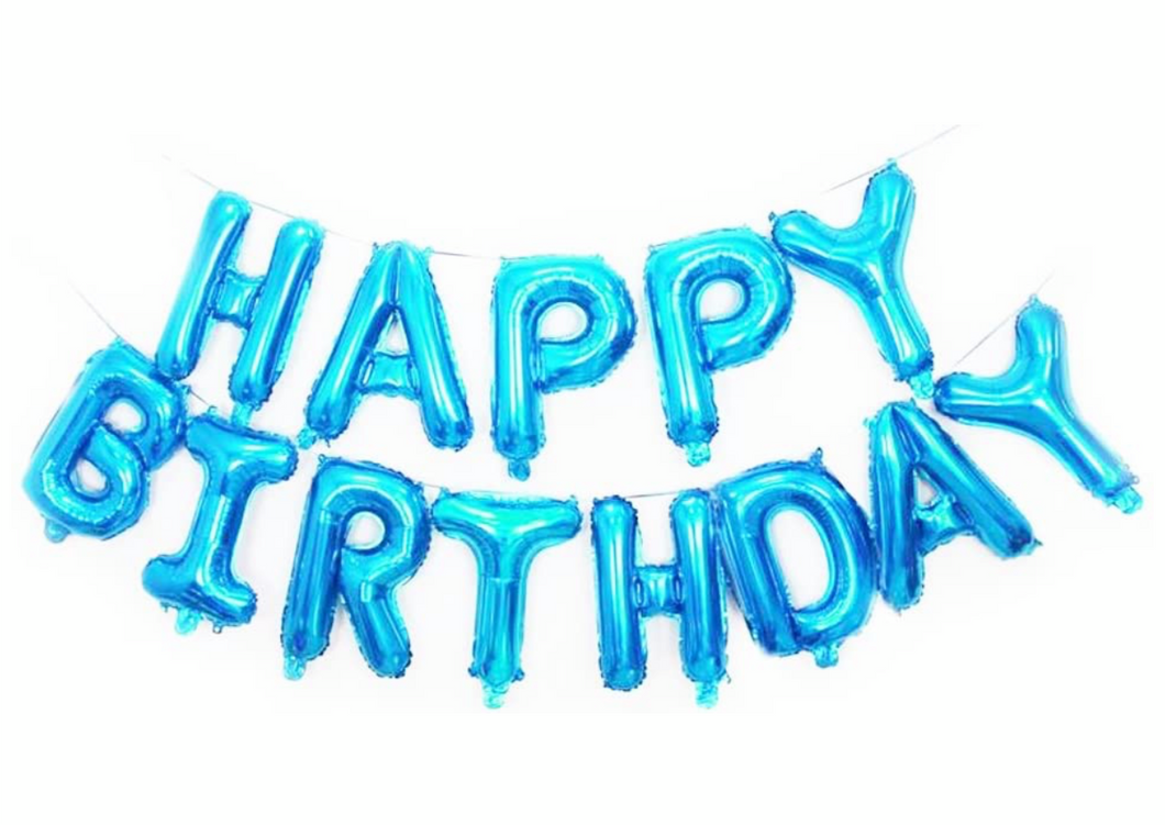 Happy birthday balloon letters blue