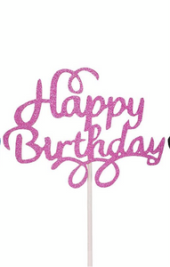 Happy birthday cake topper purple