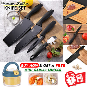 Premium Quality Knife Set + FREE Mini Garlic Mincer
